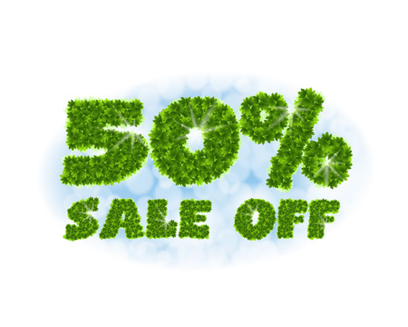 Spring sale 50 percent off. Letters and figures from maple leaves on a heavenly background. Illustration