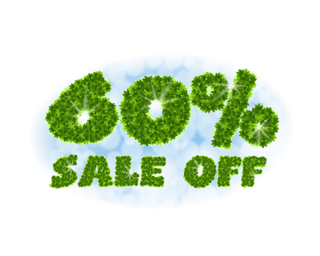 Spring sale 60 percent off. Letters and figures from maple leaves on a heavenly background