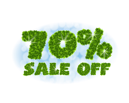 Spring sale 70 percent off. Letters and figures from maple leaves on a heavenly background