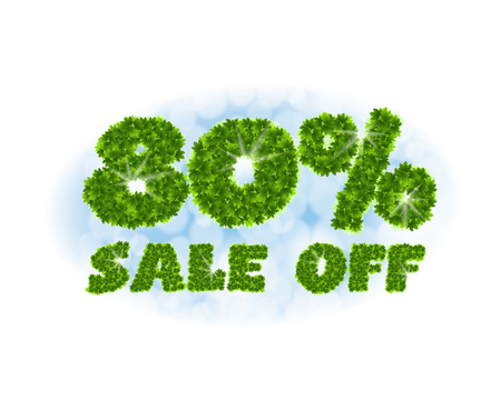 Spring sale 80 percent off. Letters and figures from maple leaves on a heavenly background