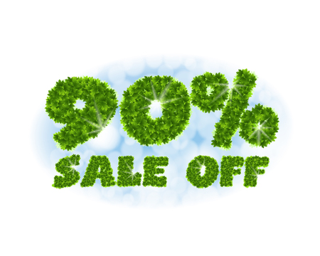 Spring sale 90 percent off. Letters and figures from maple leaves on a heavenly background Illustration