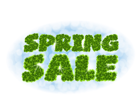 Spring sale. Letters from maple leaves on a heavenly background