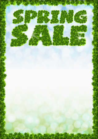 Poster spring sale. Letters from maple leaves on a heavenly background Illustration