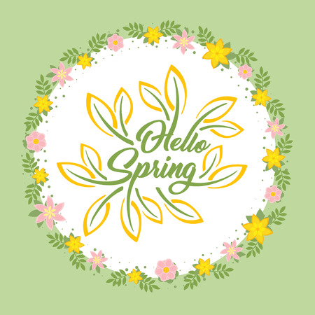 Hello Spring beautiful greeting card with flowers on a white background and stylized inscription.