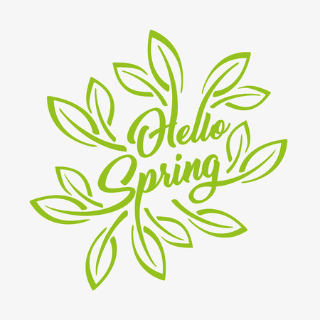 Hello Spring green stylized inscription on a white background, badge typography icon. Vector illustration