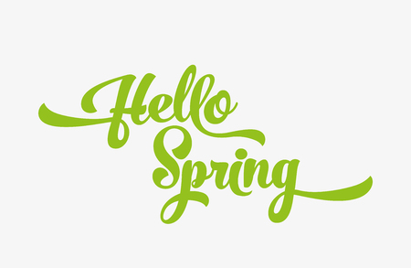 Hello spring green stylized calligraphic inscription on a white background.  Vector illustration