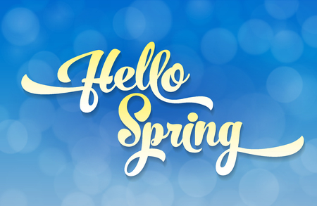 Hello spring light stylized inscription on the background of the sky with the effect of bokeh. Spring template for your design, cards, invitations, posters. Illustration
