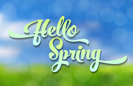 Hello spring, blue-green stylized inscription decorated with foliage against the sky with a bokeh effect. Spring template for your design, cards, invitations, posters. Illustration