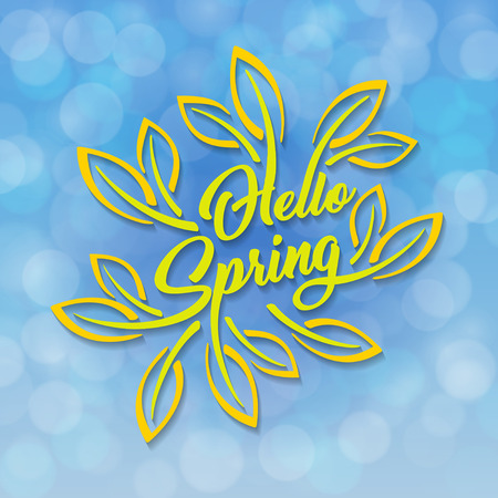 Hello spring, green stylized inscription decorated with foliage against the sky with a bokeh effect. Spring template for your design, cards, invitations, posters.