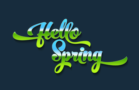 Hello spring stylized calligraphic inscription on a blue background. Spring template for your design, cards, invitations, posters. Vector illustration