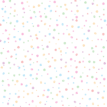 A beautifully made seamless simple geometric spacelike pattern with chaotically arranged geometric shapes. High density. On a white background