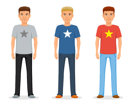 Młody mężczyzna w dżinsach i koszulce z gwiazdą. Moda codzienna. Wektor Ilustracje wektorowe