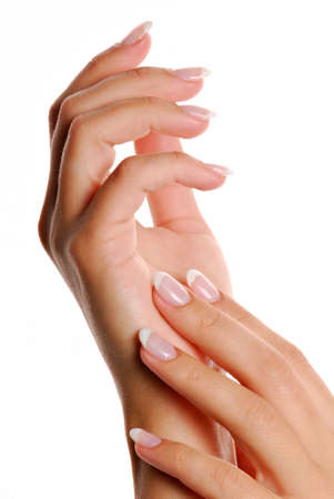cosmetic lacquer: Fingernail.  Manicure and Gesturing.  Stock Photo