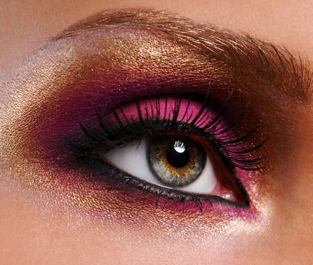 beautiful bright golden-pink make-up Stock Photo - 3677199