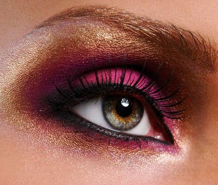 beautiful bright golden-pink make-up Stock Photo - 3677199