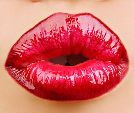 Glamour Red gloss lips with kissing gesture. Stock Photo - 3677195