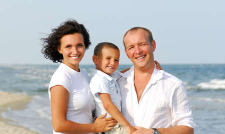 Portrait of Happy Family with one children on the vacation Stock Photo - 3704546