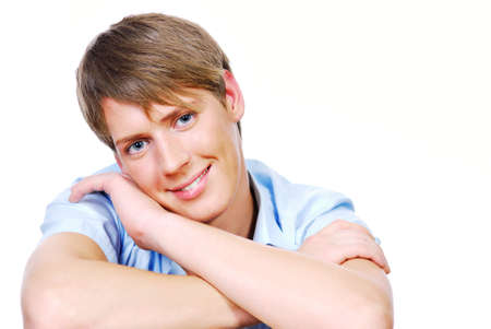 Cute teenager close-up face isolated on the white background Stock Photo - 3701787