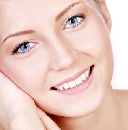 Close-up portrait of elegance teenage girl isolated on white background photo