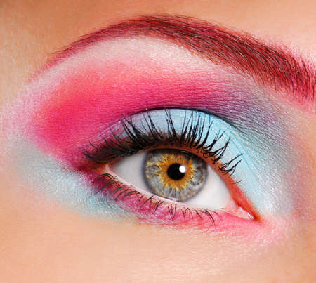 Elegance close-up of woman's eye with multicolored eyeliner and eyeshadow Stock Photo - 3704572