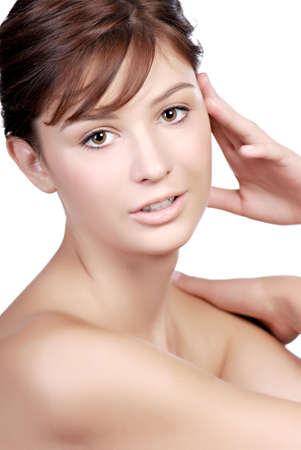 unclothed: Close up portrait of beautiful  teenage girl seen from shoulders up, white background.