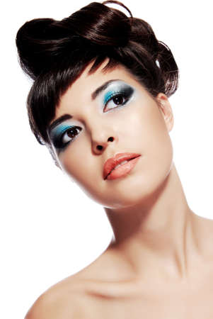 Stylish image of creativity make-up, hairstyle design on young woman face Stock Photo - 3704540