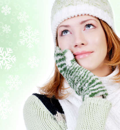 young adult attractive woman dressed in winter clothes photo