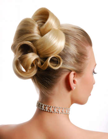 wedding hairstyle: beauty wedding hairstyle rear view isolated on white