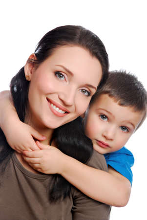 niño abrazando a su joven y bella madre Foto de archivo - 3714740
