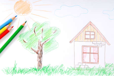 Childrens colored sketch  of  house, tree, sun photo