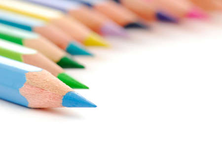 Beautiful composition  of stationery multicolored  pencils photo