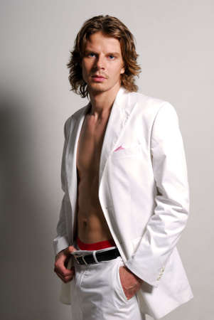 man long hair: Beautyful man in the white suit