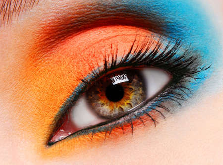 eyelid: close-up female eye with a multicolored make-up on a eyelid