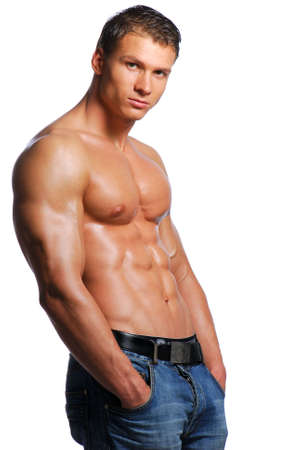 Sexy body of beautiful young guy on a white background