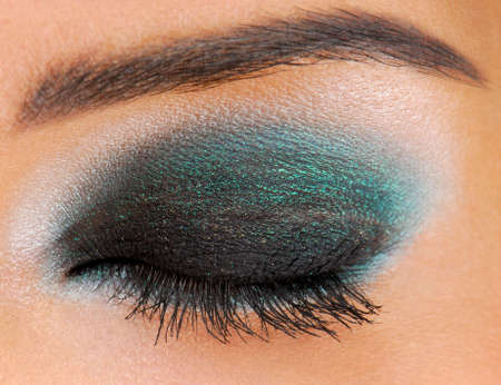 ceremonial: Glamour ceremonial make-up. Human Eyes closed.  Stock Photo