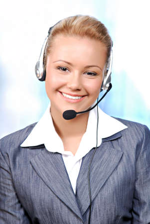 fale: Close-up smiling face of a young female operator