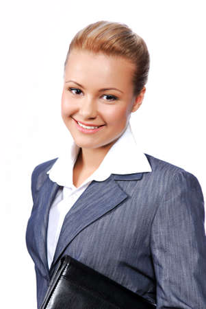 Smiling bussinesswoman holding the black folder. Isolated on the white background photo
