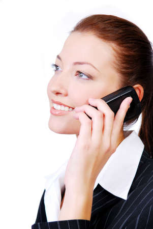 dult: Businesswoman speaking on the phone. Isolated on the white background
