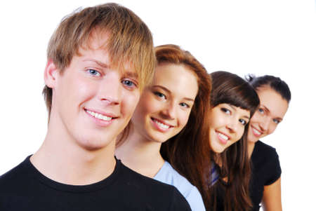 Row of  face of four young smiling teens on white photo