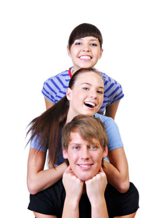 Three happy friends having fun isolated on a white background photo