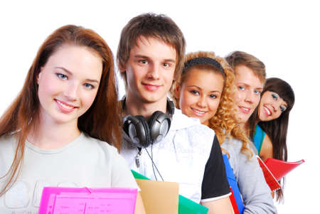 successful student: Group of the students lined up for a portrait. Stock Photo