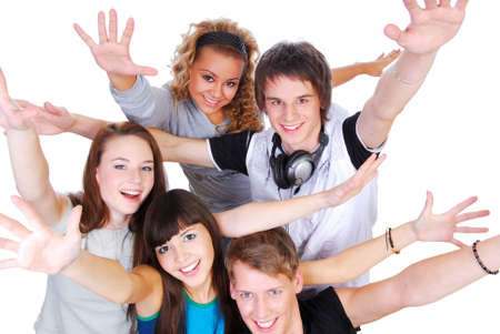 Group of joyful young people with the hands stretched upwards on a white background