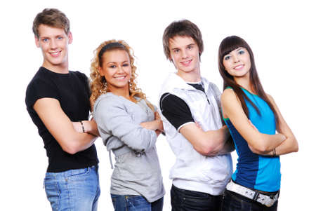 Portrait of four smiling young guys and girls photo