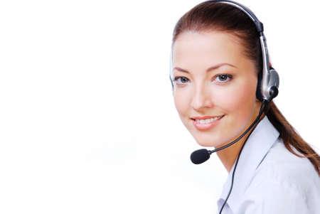 hands free phone: Adultos atractivo operador en el auricular. Stuido dispararon sobre un fondo blanco