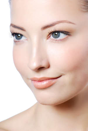 profile view: Profile view of attractive woman face with health complexion  Stock Photo
