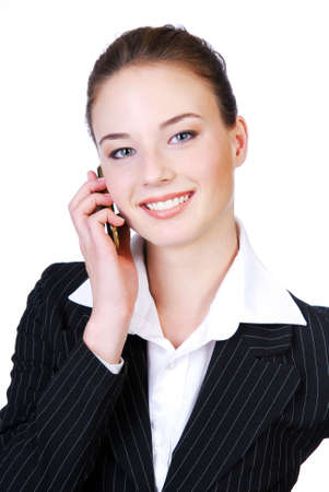 Portrait of a young beautiful telephone operator smiling.  photo