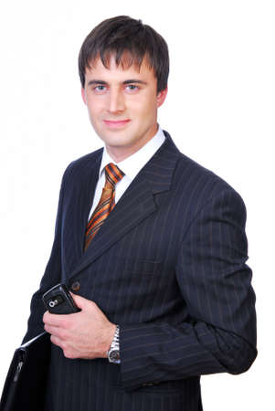 Handsome businessman holding the black folder Stock Photo - 3915663