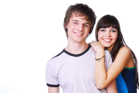 boy romantic: Portrait of two cute teen couples isoalted on white