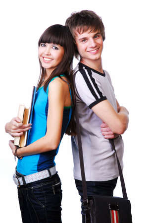 Two happiness students standing back to back Stock Photo - 3918083
