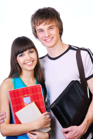 Portrait of two cute happy teenagers  isoalted on white photo